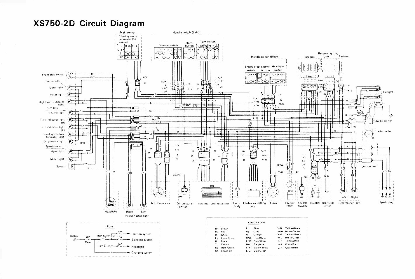 Wiring diagram for the XS750-2D. XS850 Wiring Diagram